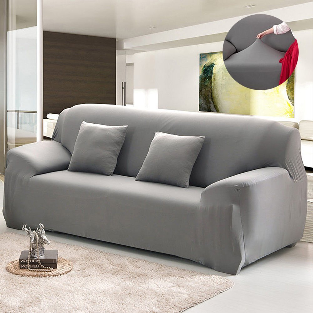 Amazon.com: Bluecookies Stretch Arm Elastic Sofa Slipcover, Grey ...