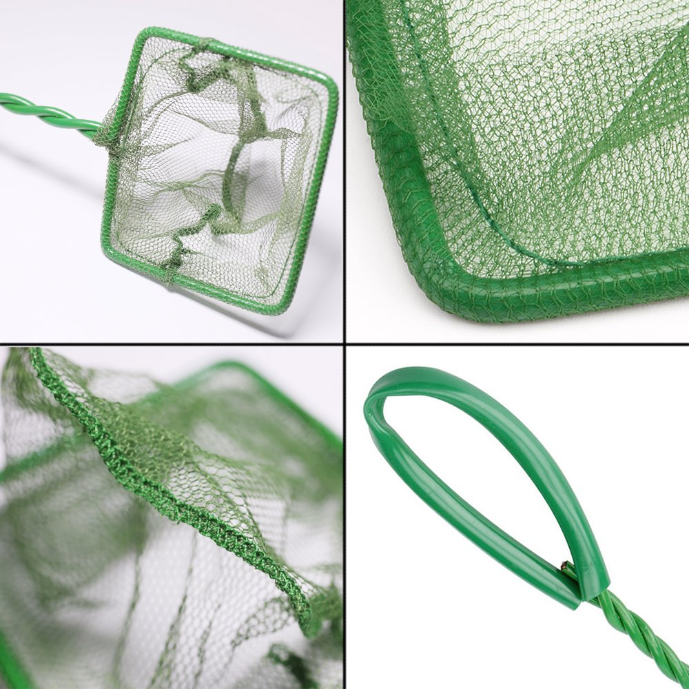 SLSON 4 inches Aquarium Fish Net Fine Mesh Nylon Nets Quick Catch Net with 10 inches Handle for Fish Tanks,Green
