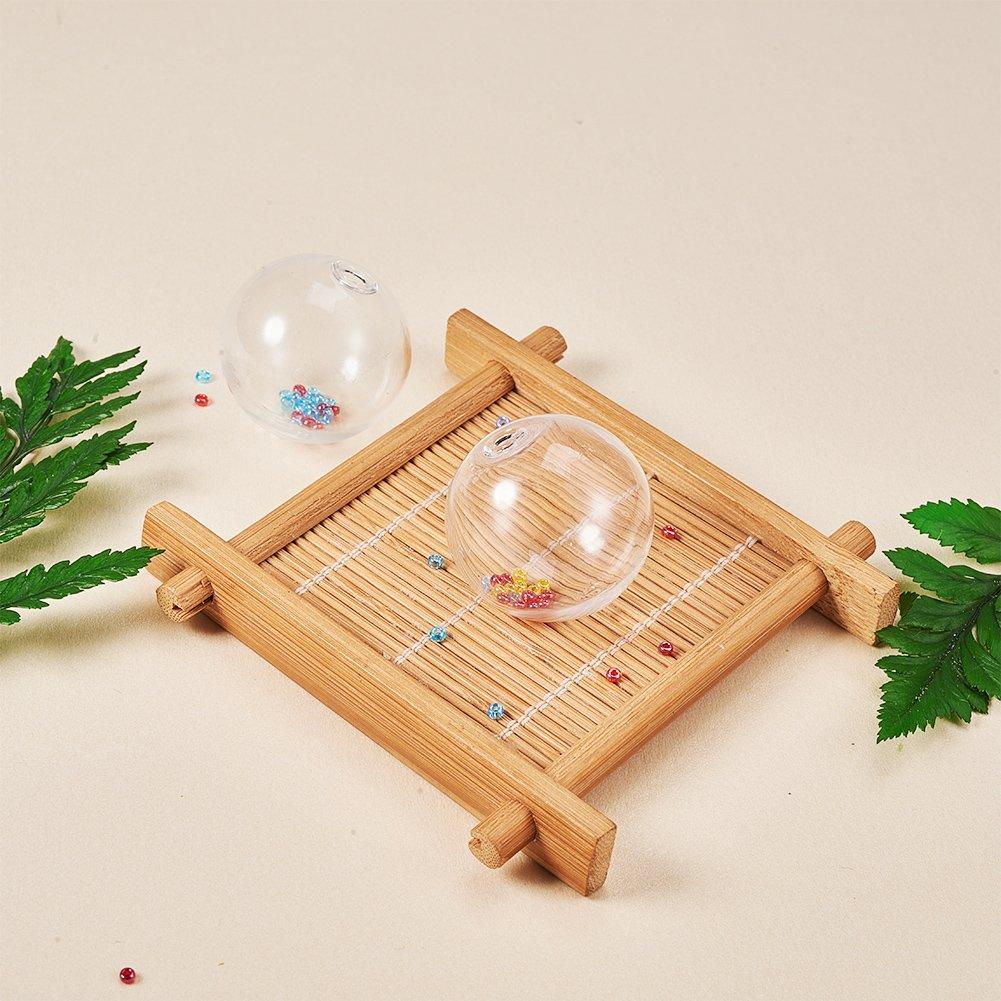 PandaHall Elite 50Pcs Handmade Round Blown Globe Wish Glass Ball Bottles DIY Memory Lockets Pendant Charm Craft 13mm Transparent