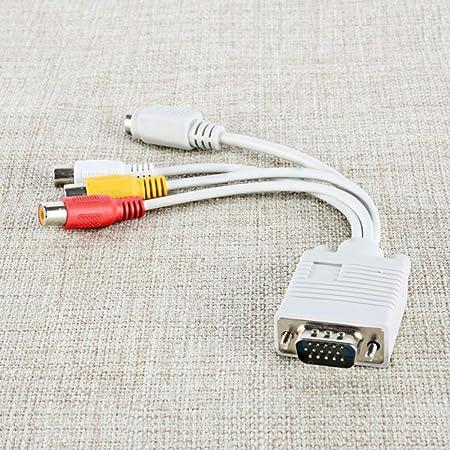 Ruiqas PC Ordenador VGA a TV S-Video 3 RCA Compuesto HD AV Salida de TV Cable Adaptador convertidor (Color : White): Amazon.es: Hogar