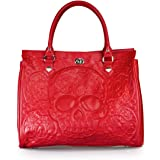 """Loungefly Red On Red Lattice Skull Tote FAUX LEATHER PEBBLE HANDBAG WITH EMBOSSED FAUX LEATHER APPLIQUE. MEASUREMENTS: W: 15.5"""" X H: 13.5"""" X D: 6.5"""""""