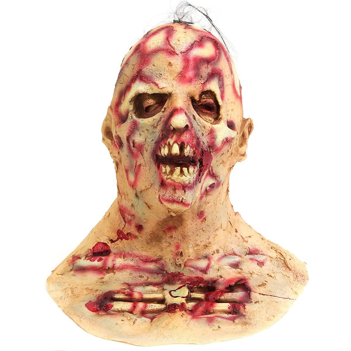 Wuchance Halloween Scary Infected Zombie Erwachsenenmaske Melting Face Latex Horror Kostüm Zubehör