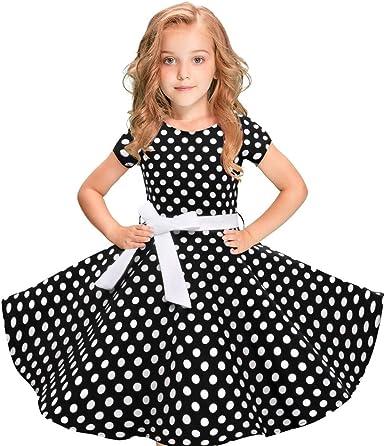 Girls Kids Princess Short Sleeve Party Polka Dots Vintage Swing A-Line Dress