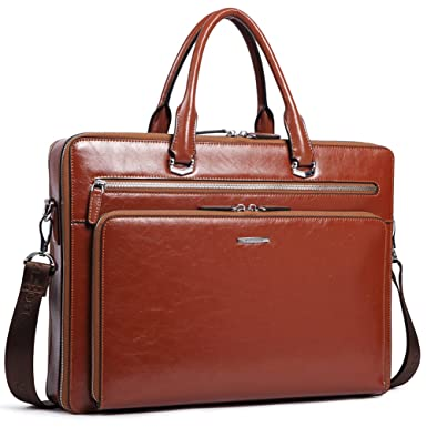 8eb15115183a Image Unavailable. Image not available for. Color  BOSTANTEN Leather  Briefcase Shoulder 15.6 quot Laptop Business Vintage Slim Messenger Bags  for Men ...