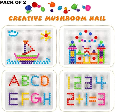 WP Pack of 2 Mushrooms Nails DIY Peg Pegboard Toys Colourful Building Bricks Jigsaw Puzzle for 3 Years Old Children
