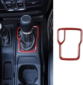 RT-TCZ Gear Shift Panel Trim Cover ABS Frame Bezel for Jeep Wrangler Accessories 2007-2010 JK JKU Sport X Sahara Rubicon Red Color