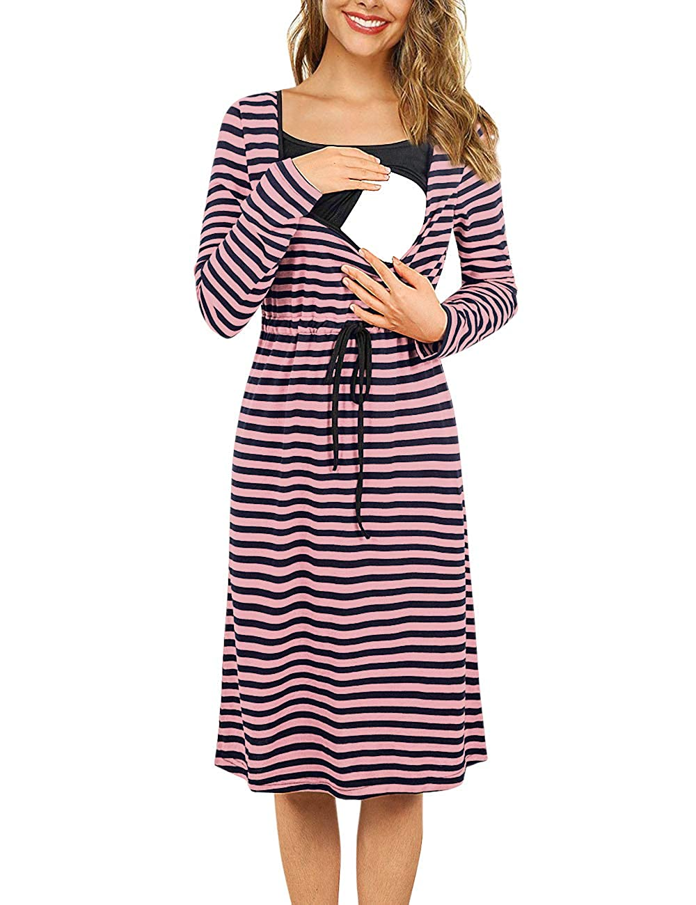 Hellmei Womens Maternity Dress,Empire Waist Nursing Dress for Breastfeeding Knee Length