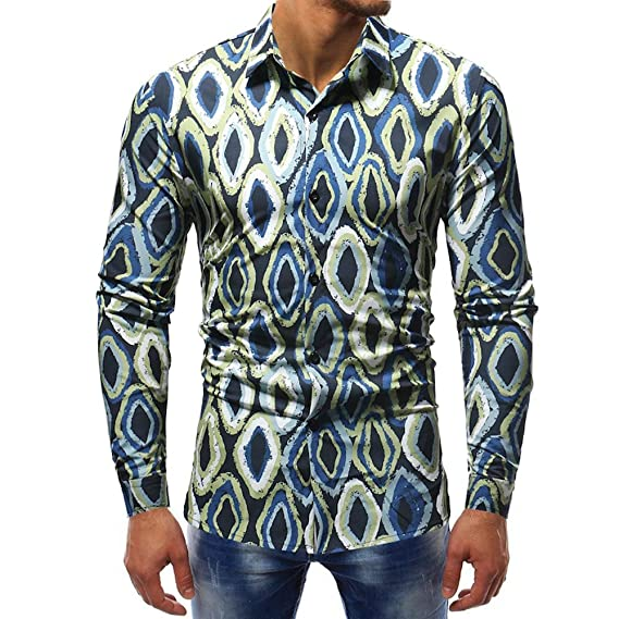 ALIKEEY Men S Print Long Sleeve Shirt Hombres Moda Impreso Blusa Casual Tops Manga Larga