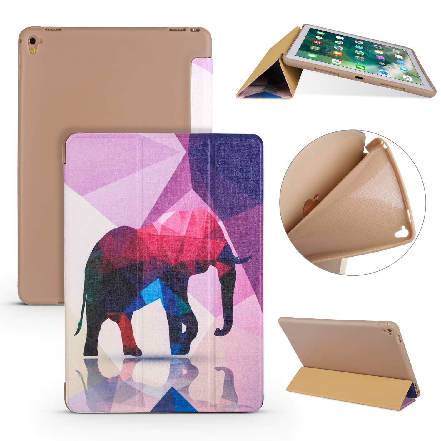 9.7 iPad 2018/2017 5th / 6th Case, Earcase Smart iPad Case PU Leather Case Shockproof Soft TPU Back Cover Stand Cover Auto Sleep/Wake Function for iPad Air/iPad Air 2/2017/2018 New iPad 9.7 inch-A10