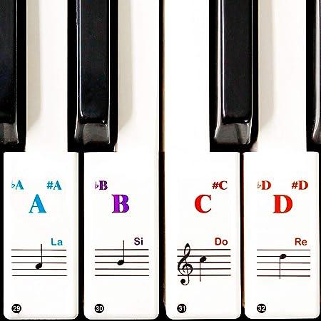 Pegatinas del teclado de piano, teclados de 88/61/49/37, pegatinas herramienta de aprendizaje del piano de colores, transparente y portátil