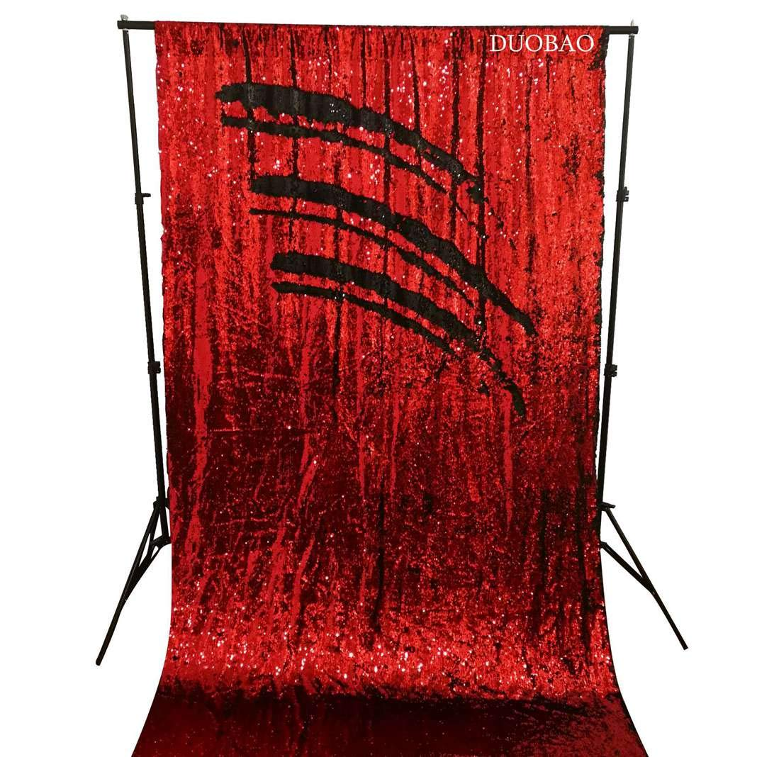 DUOBAO Sequin Backdrop Curtains 2 Panels 4FTx8FT Reversible Sequin Curtains Red to Black Mermaid Sequin Curtain for Wedding Backdrop Party Photography Background