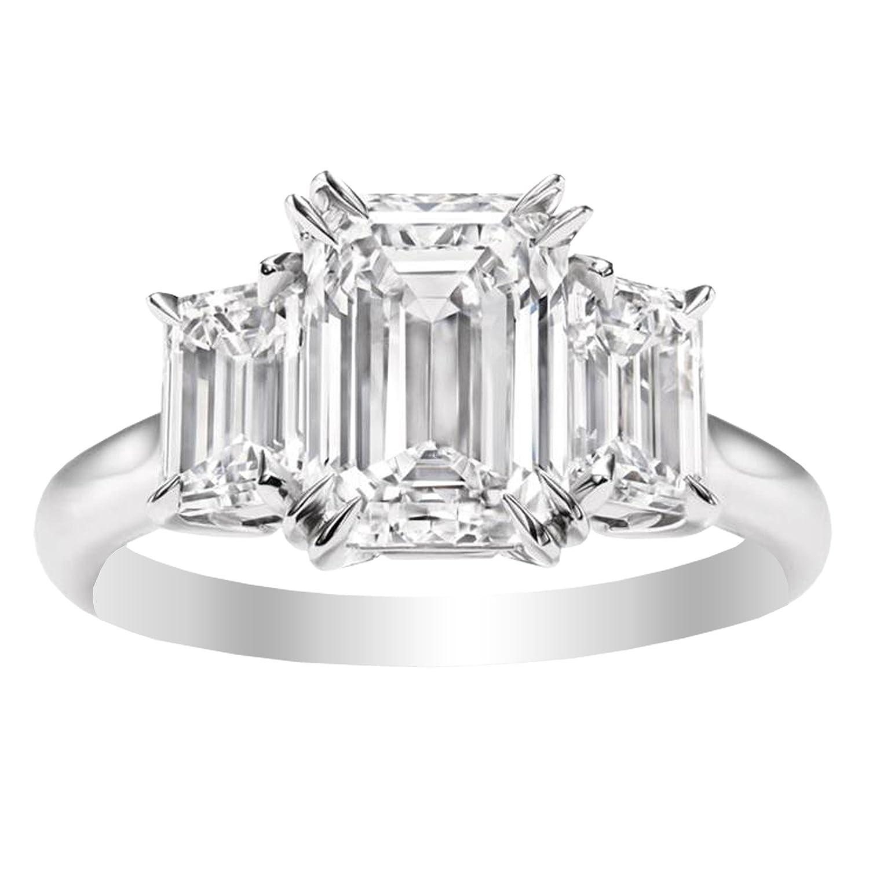 1 Carat 14K White Gold Emerald Cut 3 Three Stone Diamond Engagement Ring (I-J Color VS1-VS2 Clarity)