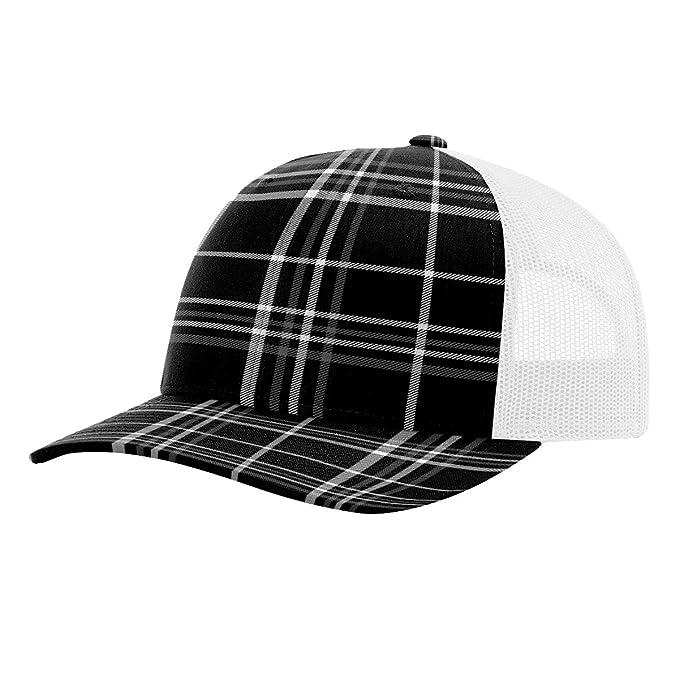 d03bef7ef Twill Mesh Back Trucker Snapback Hat -- BLACK CHARCOAL PLAID/WHITE ...