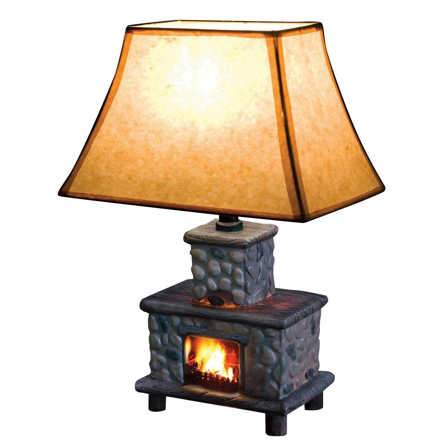 Hand painted ceramic fireplace table lamp rustic lamps amazon aloadofball Images