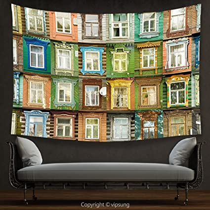 Vipsung House Decor Tapestry Landscape By European Old Vintage Retro Russian Apartment Windows Colorful Art