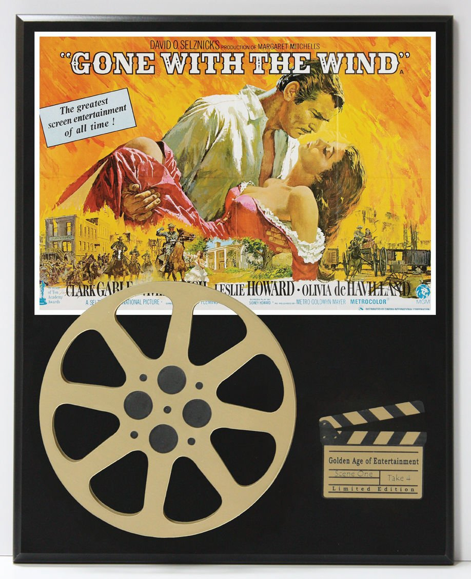 GONE WITH THE WIND WITH CLARK CABLE LIMITED EDITION MOVIE REEL DISPLAY