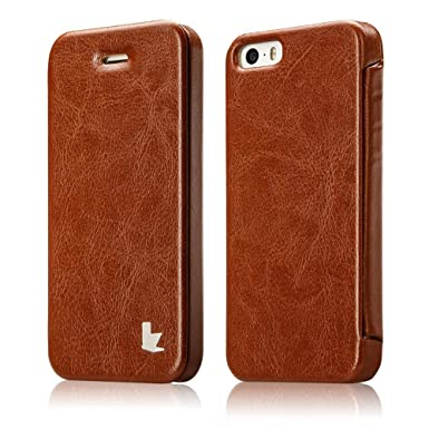cheap for discount 4d033 543fb JISONCASE iPhone SE 5S 5 Cases Covers, Sleek Handmade Magnetic Folio Flip  Case Cover Retro PU Leather Case for Apple iPhone SE iPhone 5S / 5 Brown  Tan ...