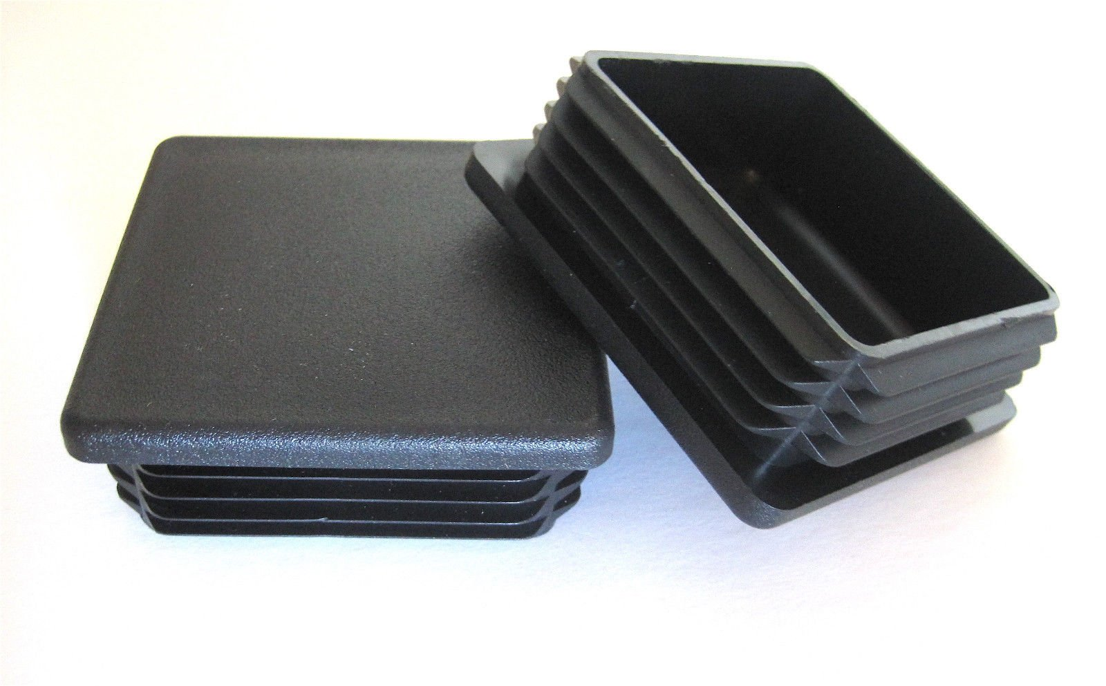 50 Pack: 3'' Black Square Plastic Plug, 8-15 Gauge - fits pipe with 3 Inch OD (Outer Diameter) - Heavy Duty - Chair Table Stool Leg Cap, Glide Insert, Tube Hole, Post Finishing Plugs by Prescott Plastics