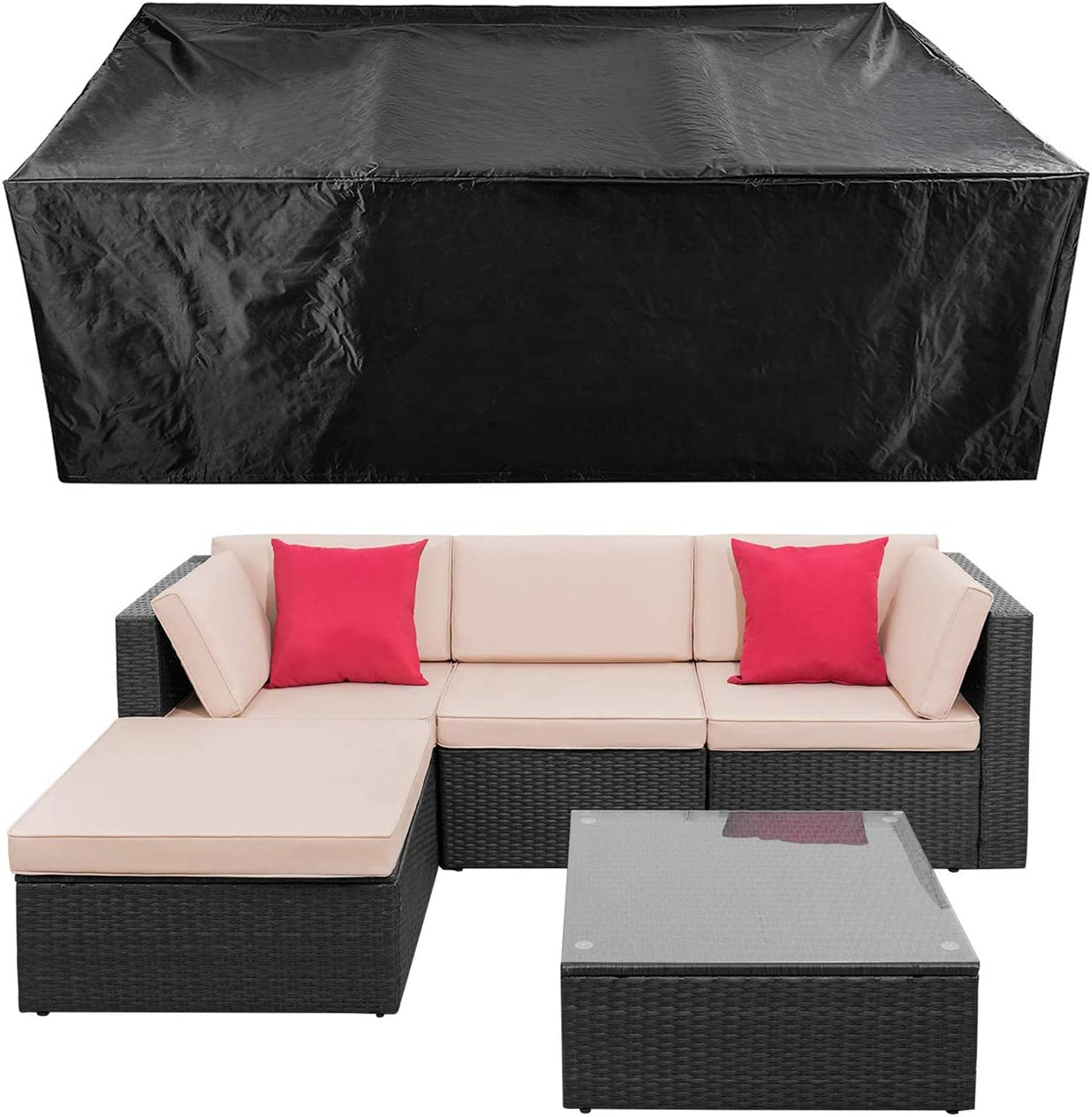 Patio Conversation Set Cover Patio Furniture Set Cover Outdoor Sectional Sofa Set Covers Waterproof Dining Table Chair Set Cover Heavy Duty 90