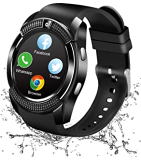 Reloj Inteligente Bluetooth, Smartwatch Pantalla Táctil Impermeable Smart Watch con Camara, SIM/TF