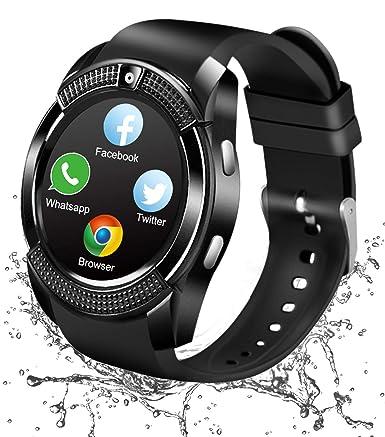 Montre Connectée, Bluetooth Smart Watch Etanche Montre Intelligente avec Caméra Whatsapp Facebook Montre Téléphone Sports