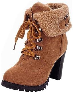 Minetom Mujer Invierno Calentar Botines Tacón Alto Boots Cortas Zapatos De Cordones Martin Botas