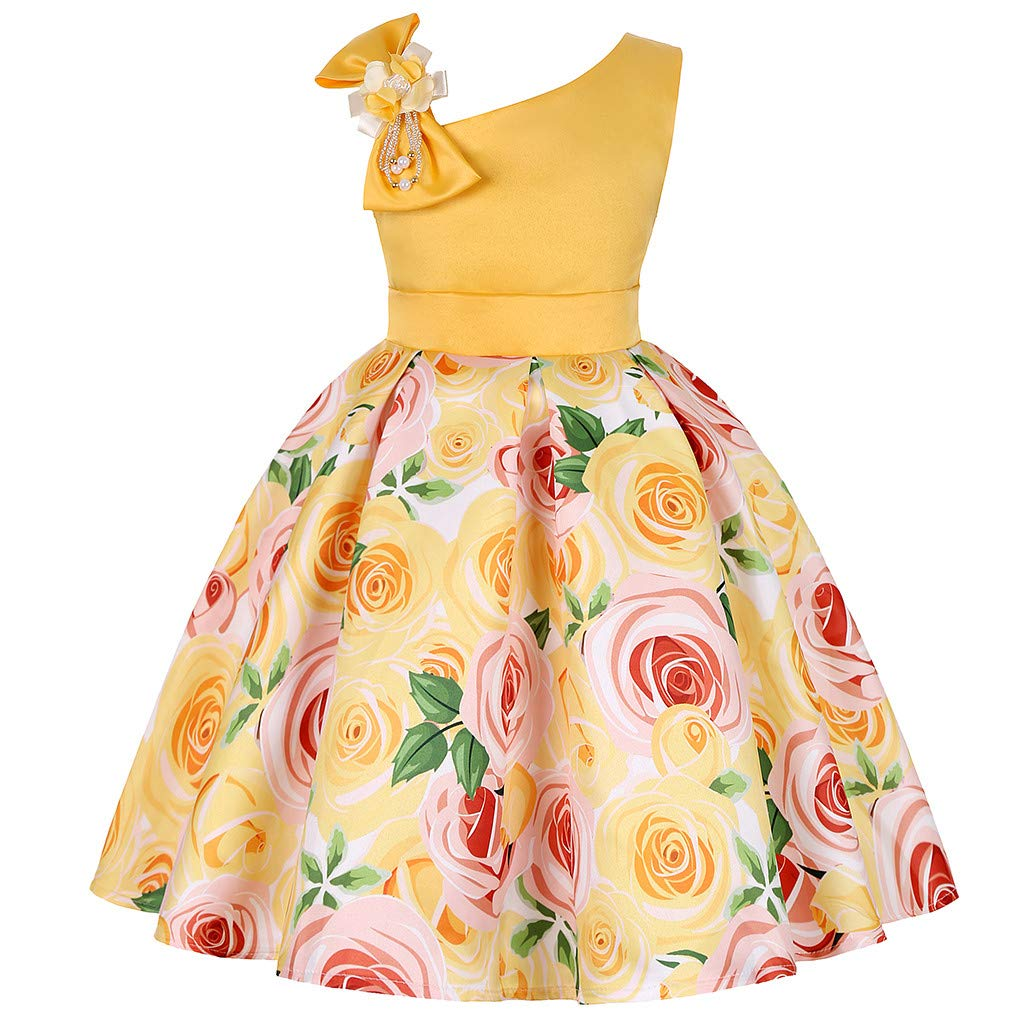 Hstore❀️Floral Baby Girl Princess Bridesmaid Pageant Gown Birthday Party Wedding Dress Skirt Tutu