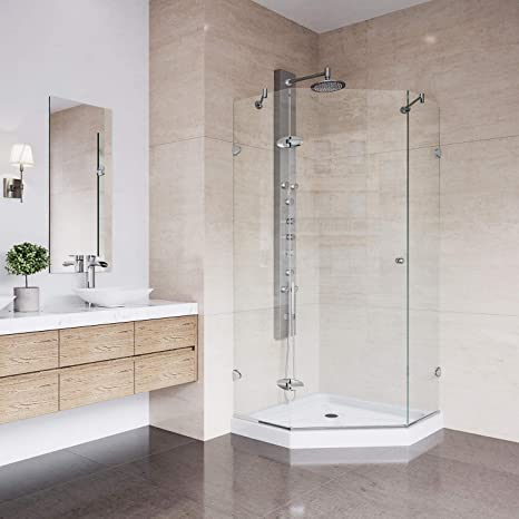 Corner Frameless Glass Shower Doors.Vigo Vg6061chcl42ws Verona 42 X 42 Inch Clear Glass Corner Frameless Neo Angle Shower Enclosure Hinged Shower Door With Magnalock Technology