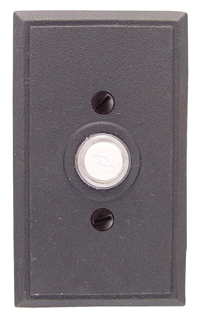 Emtek 2433 4-3/8'' Height Rectangular Style Steel Lighted Doorbell Rosette from t, Flat Black