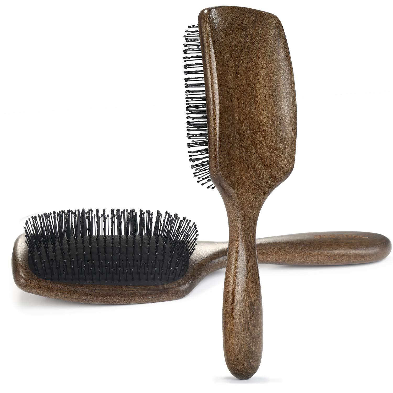 Hair Brush BESTOOL Paddle Brush Detangler Brush with Flexi Bristle, Perfect Wooden Hair Brushes for Women Men Kids, Detangling for All Wet or Dry Hair