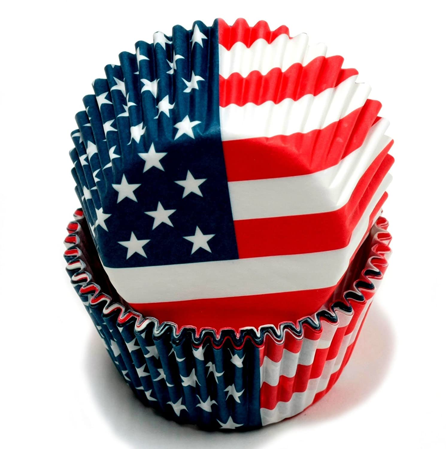 American Flag Cupcake liners - patriotic 4th of July and Memorial Day decor and entertaining supplies.