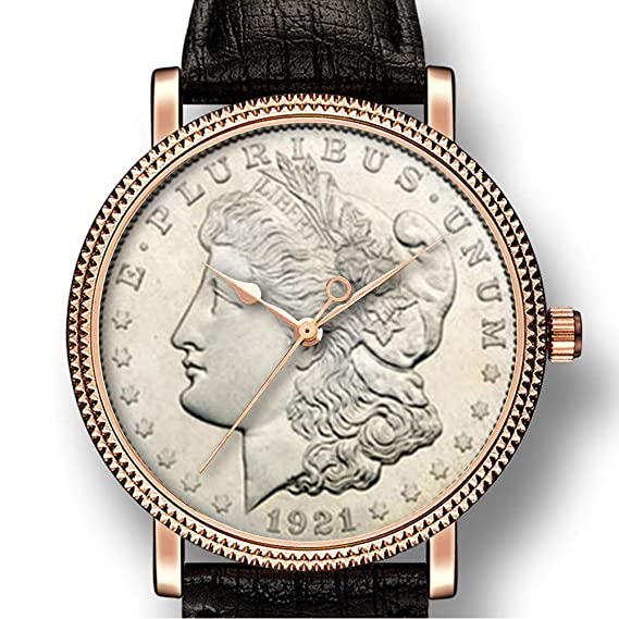 Personality Art Reloj de Cuarzo para Hombre, Estilo Casual, con Moneda de Plata (