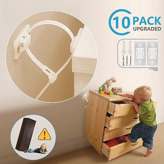 Nylon Straps,White Furniture Wall Straps 25 Sets Furniture Straps,Furniture Anchors for Baby Proofing Safety Anti Tip Furniture Kit