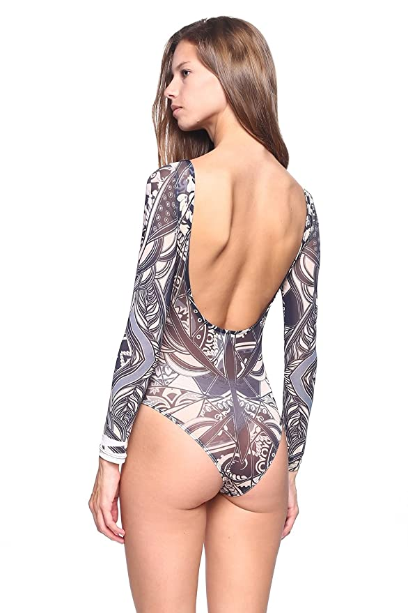 Amazon.com  Speak-Chic Semi See-Thru Nude Tattoo Print Bodysuit  Clothing 699d9290c