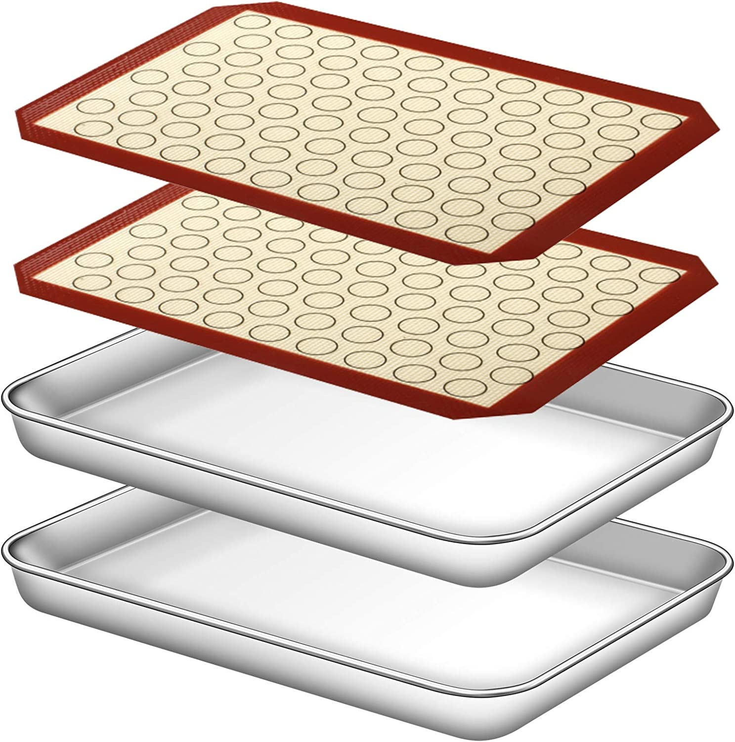 Deedro Baking Sheet with Silicone Mat, Set of 4 [2 Sheets + 2 Mats], Stainless Steel Cookie Sheet Baking Pan with Silicone Baking Mat, 10 x 8 x 1 Inch, Non Toxic, Heavy Duty, Easy Clean