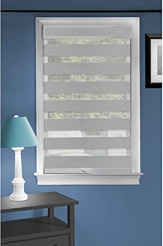 Cordless Serenity Sheer Double Layered Zebra Shade Horizontal Cordless Window Shade Blind Roller Blinds Treatments 32×72, Grey
