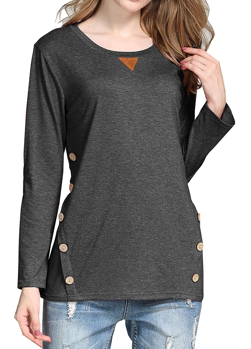 0537ad122b8 Soft and Comfortable fabric to wear. Features: Long sleeve tunic t shirt,  Round neck tees blouse, Trendy Faux Suede Elbow patched shirts, Solid color  ...