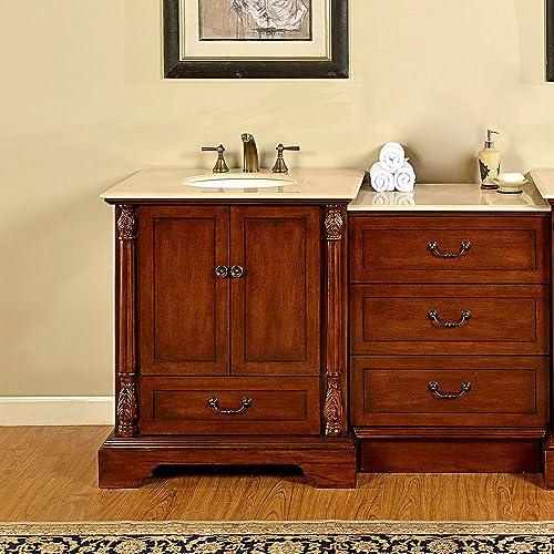 Silkroad Exclusive JB-0270-CM-UWC-56 Countertop Marble Stone Single Sink Bathroom Vanity with Drawer Cabinet, 55.5 , Medium Wood