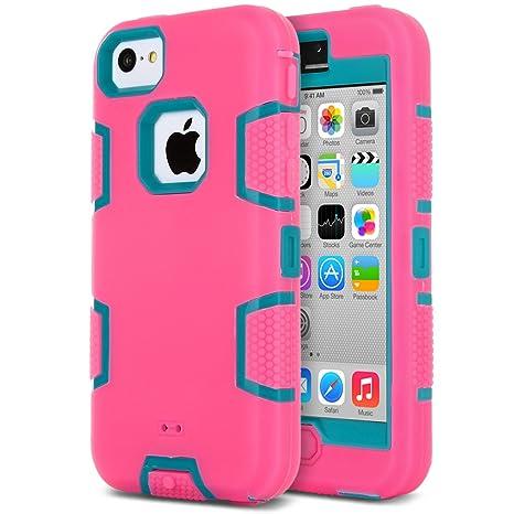 ULAK Carcasa iPhone 5c, Alta Protección Hñbrida de 3 capas de silicona suave Arma interno para Apple iPhone 5C con Protector de pantalla (Azul + ...