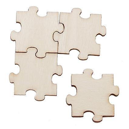 amazon com lecimo 50 pieces wooden decorative puzzle pieces art craft