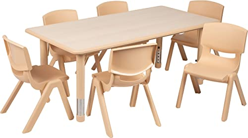 Flash Furniture 23.625″W x 47.25″L Rectangular Natural Plastic Height Adjustable Activity Table Set