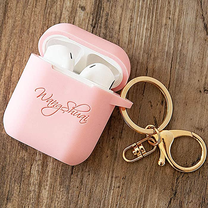 Personalized AirPod Case With Keychain Custom Name Silicon Protective Cover Compatible with Apple Airpods Case 2 & 1 and Pro Best Gift for her
