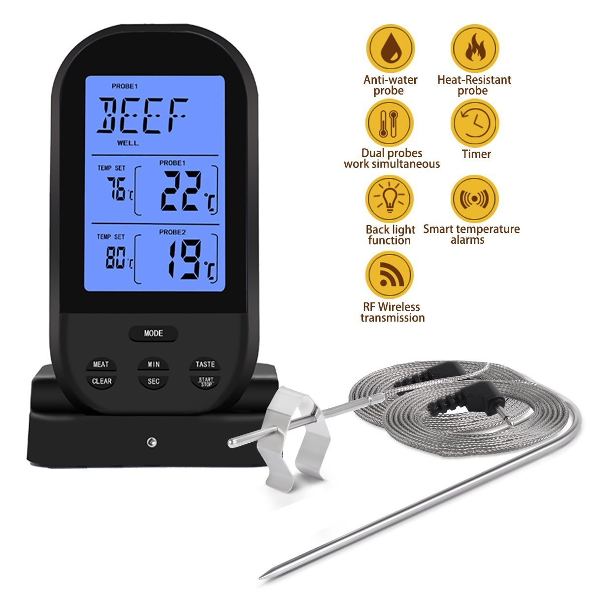 Wireless Remote Dual Probe Meat Thermometer Instant Read Timer Thermometer with LCD Screen Stainless Steel Temperature Probe for Cooking Grilling Oven BBQ (Black)