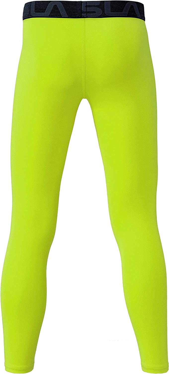 Cool Dry Active Running Tights Sports 4-Way Stretch Workout Leggings TSLA Boys Youth UPF 50 Compression Pants Baselayer