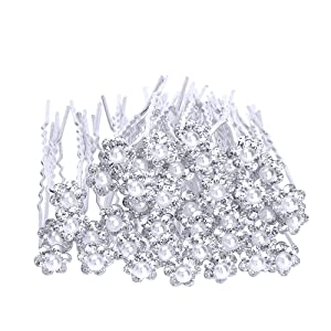 eBoot 40 Pack Wedding Bridal Pearl Flower Crystal Hair Pins Clips, White