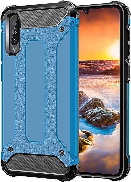 Coque Samsung Galaxy A50Bleu Noir 3 en 1 Hybrid Dur PC Bumper Cover Anti