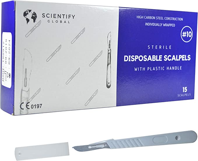 12 Pack Disposable Scalpels Blades#10 Sterile Scalpel Knives Medical Student Non-Slip Plastic Rule Handle Sculpting Podiatry Individually Pouch Practicing Cut for Biology Lab Anatomy