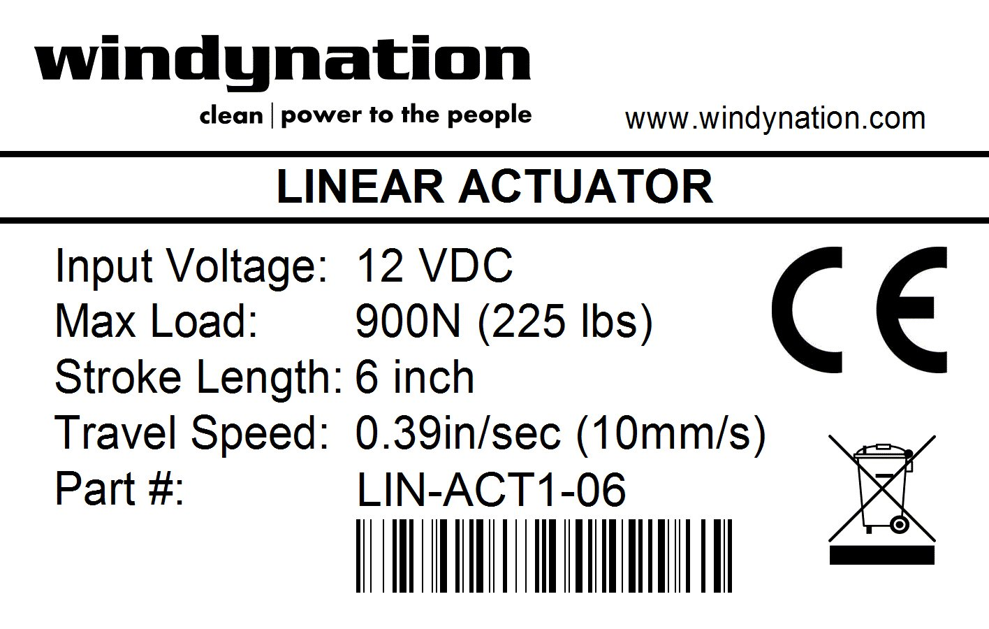 Windynation 6 Inch Stroke Linear Actuator 12 Volt 12v 225 Pounds 24 Wiring Lbs Maximum Lift Motion Actuators Industrial Scientific