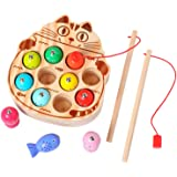 kidus Wooden Magnetic Fishing Game Toys for Toddlers Montessori Toys Fish Catching Counting Preschool Education Games for 1-3