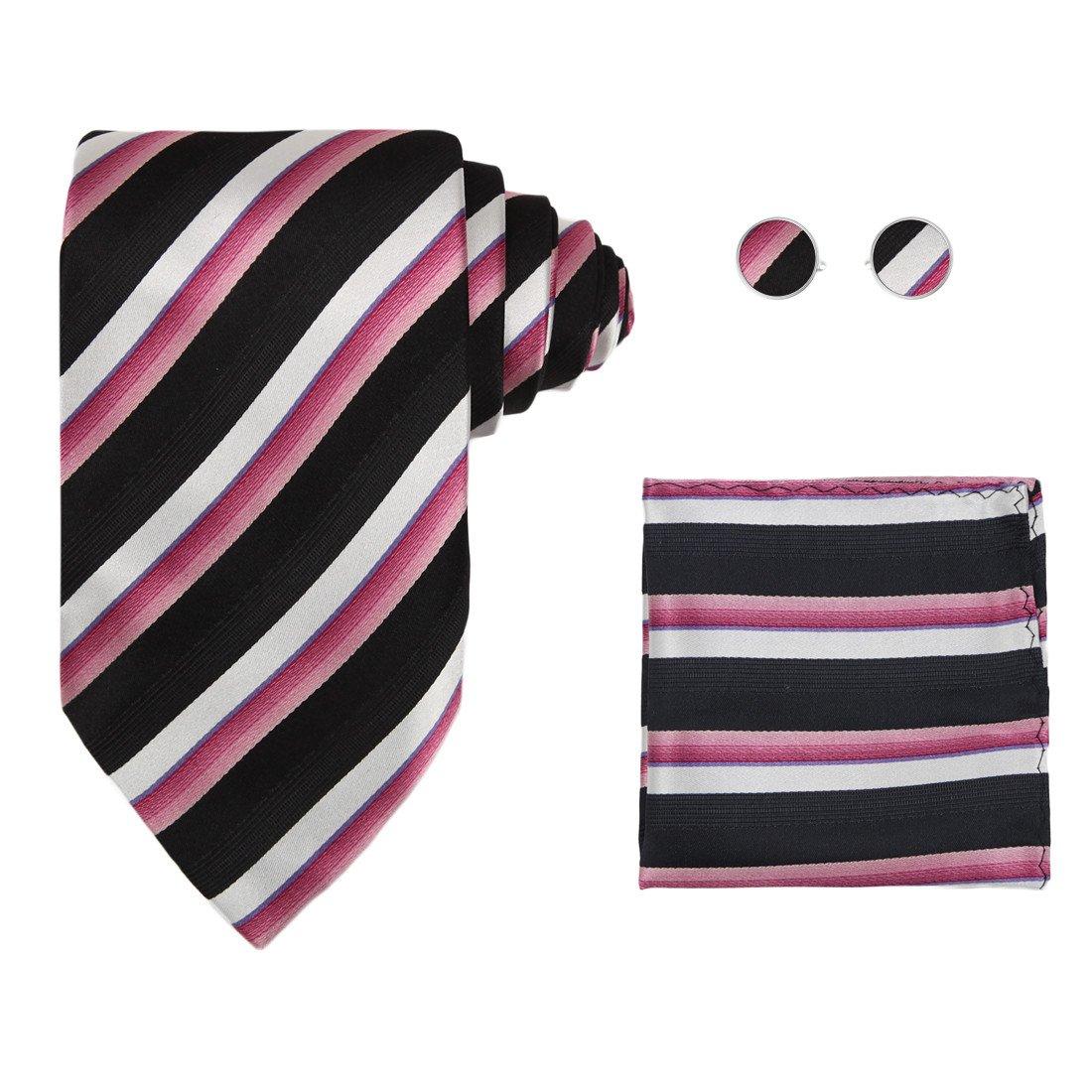 Hot pink stripes ties for men xmas gift mens style black silk ties cufflinks handkerchiefs set H5138  Hot Pink